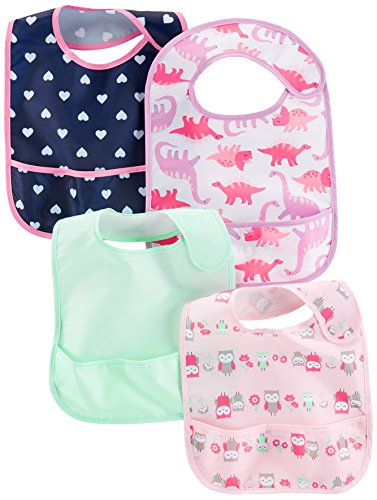 (Simple Joys by Carter's Baby Girls' 4-Pack Feeder Bibs, Dino/Owls/Mint/Navy Hearts, One Size)