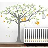 PopDecors - Nursery Tree with Cute Owls B - Free Squeegee and color change - Nursery Tree Decals Baby Wall Decors Kids Wall Stickers Owls Decal
