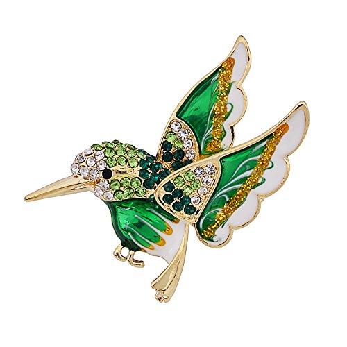 OBONNIE Flying Hummingbird Brooch Multicolor Austrian Crystal Gold Tone Enamel Emerald Bird Pin Jewelry (Green) ()