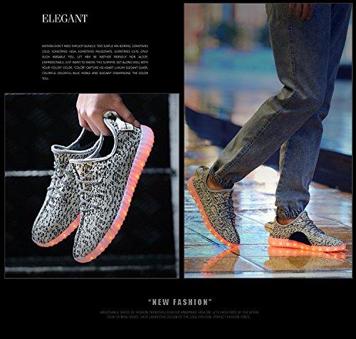 LED leuchten Schuhe Damen Herren Mode Sneaker USB wiederaufladbare & atmungsaktiv leuchtende blinkende Sportschuhe 7 Farben für Paare Blinkendes Grau
