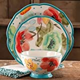 Colorful Floral Design with Turquoise Accents Dinnerware Set, 12-Piece
