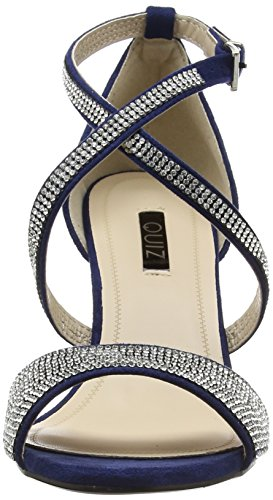 Ouvert Heel Silver Suede Femme navy Low And Bleu Faux Sandals Quiz Bout Diamante a N w0gUHH