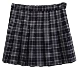 lovever Women's Classic Pleated Western Plaid All-Match High Waisted Leisure College A Line Skirt Royal Blue S