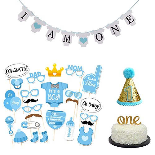 36 pcs Baby Boy First Birthday Cake Topper, I AM ONE Banner,Mini Party Hat, Photo Booth Props (Boy First Birthday Cake Topper)
