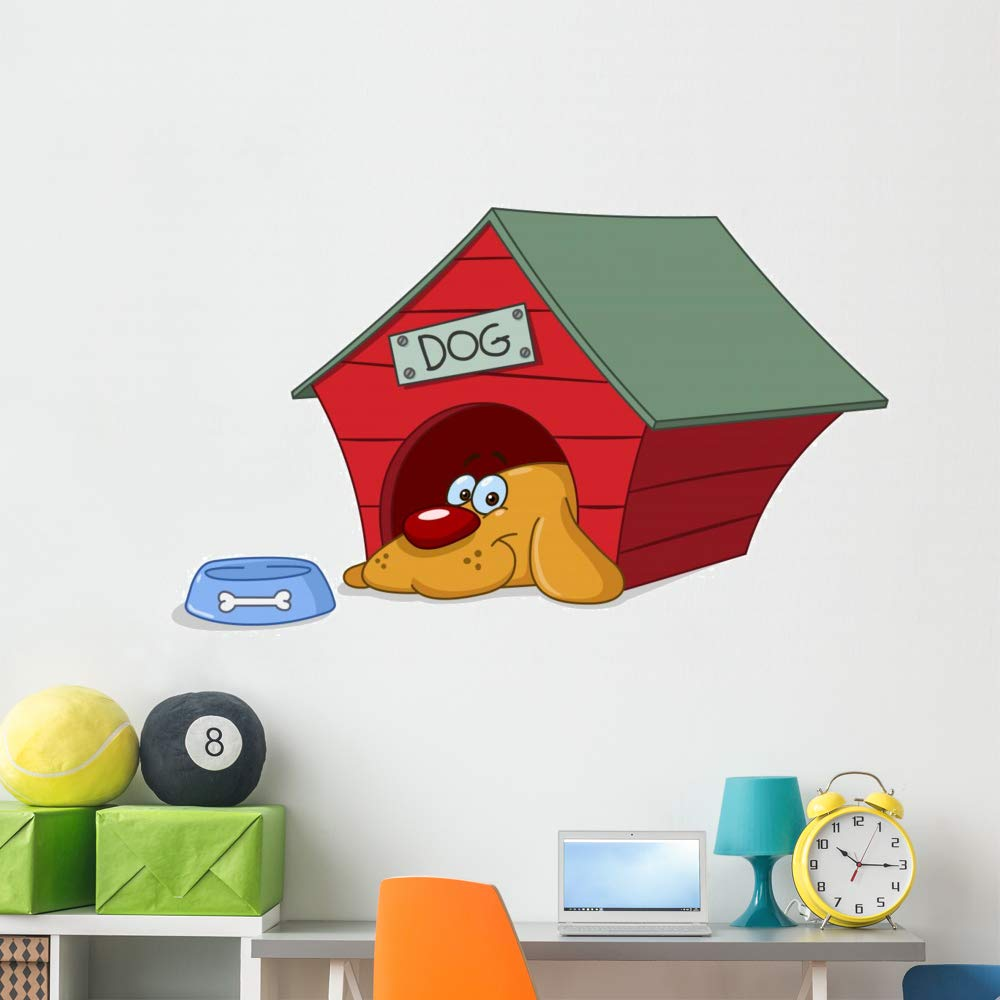 Wallmonkeys Dog Doghouse Wall Decal Peel and Stick Animal Graphics (60 in W x 37 in H) WM267569