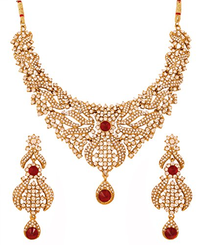 llywood traditional pretty filigree work white Rhinestone and red faux ruby mesmerizing bridal designer jewelry necklace set for women in antique gold tone (Antique Gold Jewelry Set)