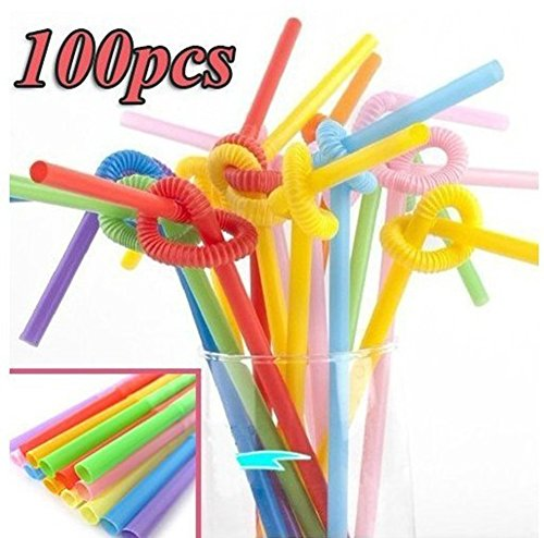 Chariot trading - 100pcs Multicolor Long Bendy Drinking Straws