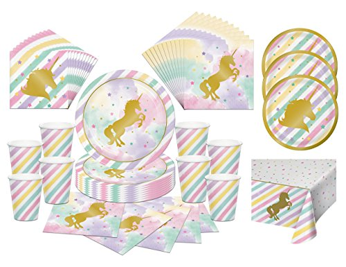 Creative Converting Unicorn Sparkle Party Tableware Bundle with Plates, Napkins, Cups, Tablecover (8 Guests)