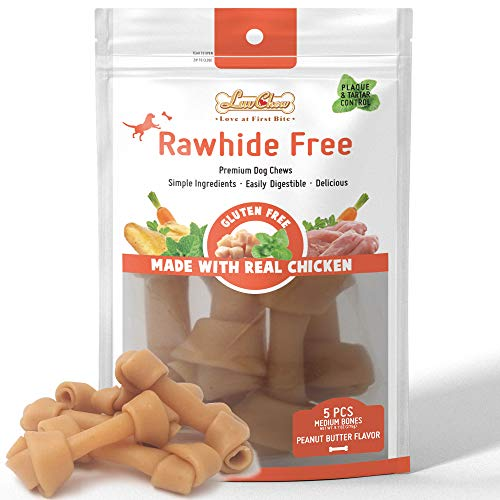 LuvChew Premium Peanut Butter Dog Chew Bones, Rawhide Free, Gluten Free, Made with Limited Ingredients, Delicious, Healthy, Highly Digestible (Medium 5pcs/Pack)