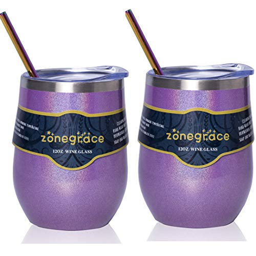 (Zonegrace 2 Pack 12oz Insulated Wine Tumbler with Lid Glitter Purple, Double Wall Stainless Steel Stemless Insulated Wine Glass, Coffee Mug, for Champaign, Cocktail, Beer, Office)