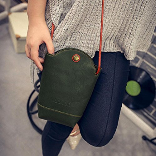 Leather Handbag Messenger Body Purse Bag Shoulder Cross Green Bag Vintage Women Fashion VESNIBA vWqEYY