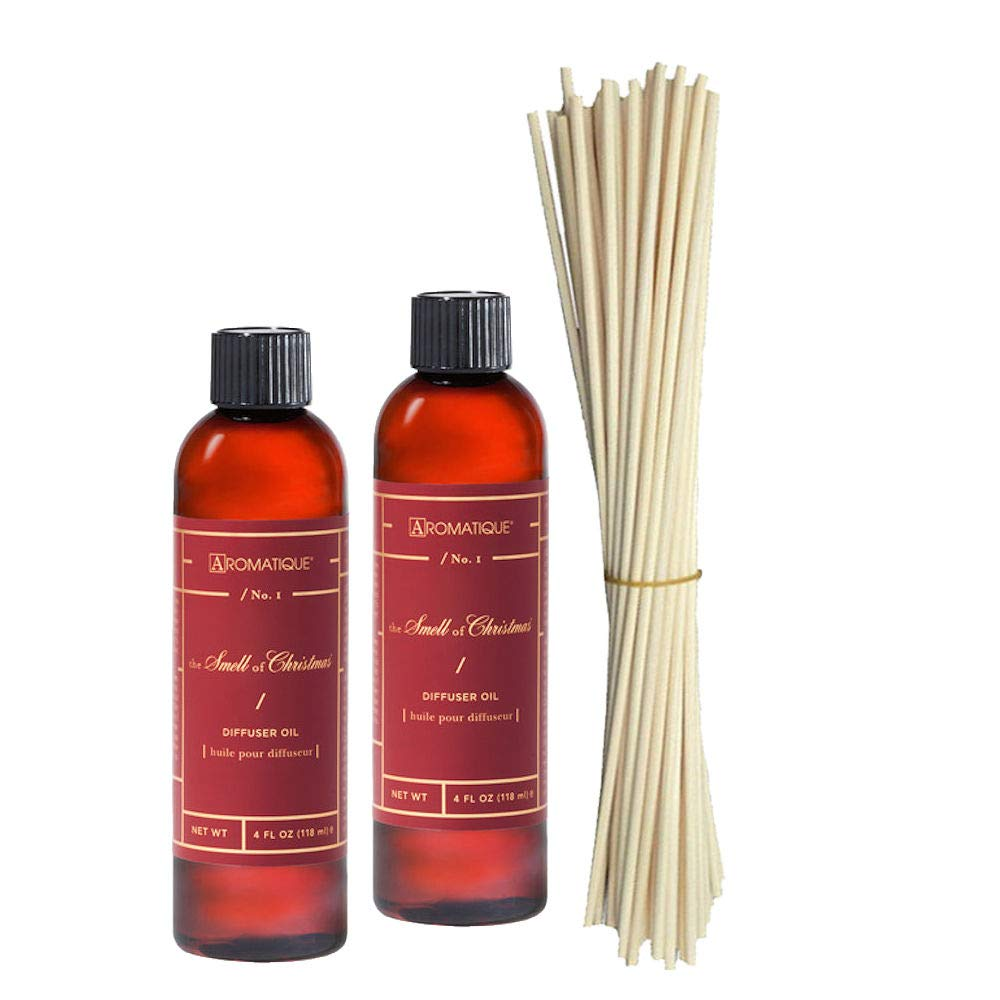 Two (2) Aromatique 4 Oz The Smell of Christmas Reed Diffuser Refills Plus a Bundle of Eighteen 10'' Replacement Reeds by Aromatique