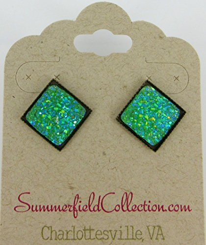 Preppy 80s Costume (Green Geometric Square Shaped Flat Faux Druzy Stud Earrings 12mm Statement Antiqued Gold-tone)