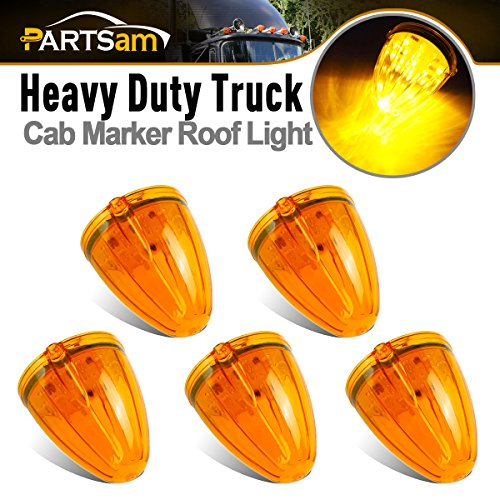 Partsam 5x Cab Roof Running Marker Lights Amber Yellow 17 LED Replacement Lens for Kenworth Peterbilt Freightliner Mack (Replacement Peterbilt)