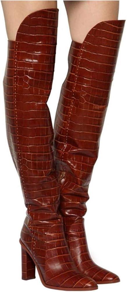 YQSHOES Talons Hauts À Motifs De Crocodile, Bottes À La Mode, Bottes À Hauteur Du Genou, Bottes Pour Femmes Automne Et Hiver Darkbrownvelvet