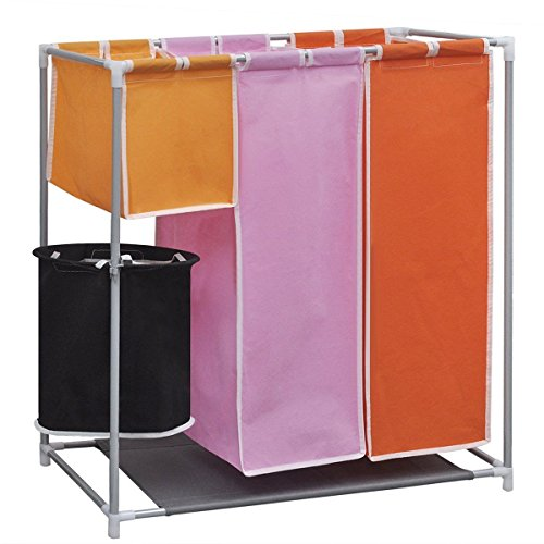 Storage Hamper 3 Sections Laundry Clothes Basket Iron Frame