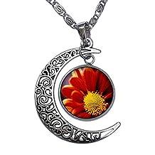 GiftJewelryShop Orange Daisy Crescent Moon Galactic Universe Glass Cabochon Pendant Necklace