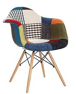 Sillon de Madera Natural tapizado en tejido patchwork–Decoración Hogar Decora