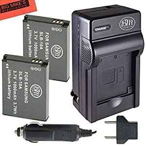 Pack of 2 SLB-10A Batteries and Battery Charger for Samsung EX2F HZ15W SL202 SL420 SL620 SL820 WB150F WB250F WB350F WB750 WB800F WB850F WB1100F Digital Camera + More!!