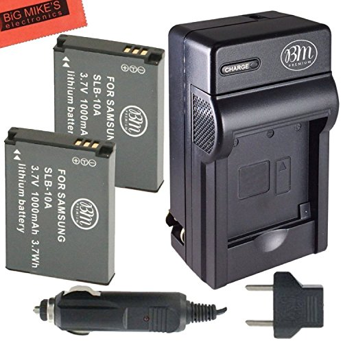 Battery 10a Charger (Pack of 2 SLB-10A Batteries and Battery Charger for Samsung EX2F HZ15W SL202 SL420 SL620 SL820 WB150F WB250F WB350F WB750 WB800F WB850F WB1100F Digital Camera + More!!)
