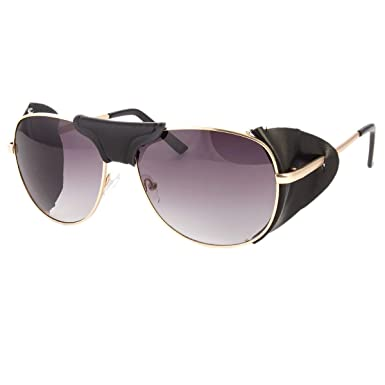 e07d593d00 Image Unavailable. Image not available for. Color  FAUX LEATHER SIDE SHIELD  AVIATOR SUNGLASSES CLASSIC MOTORCYCLE WIND GUARD
