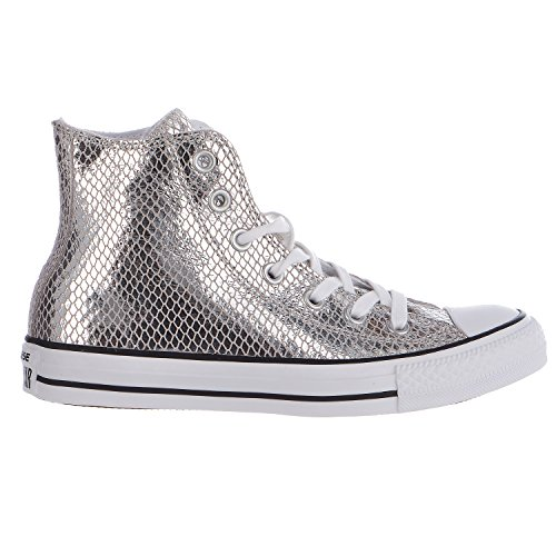 Converse Women's Chuck Taylor All Star Metallic Snake Hi Fashion Sneaker Silver 6