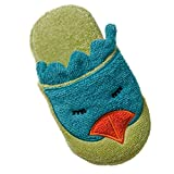Breganwood Organics Toddlers Cotton Terry House Slippers for Boys and Girls, Closed Toe with Non Slip Sole, Lime Green, Bird Design, Funny Bird