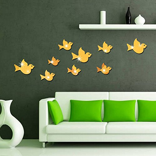 Ghaif Flying Bird mirror wall mount stereo posters on the wall in the living room sofa bedrooms are simply decorated animal sticker in gold by Ghaif