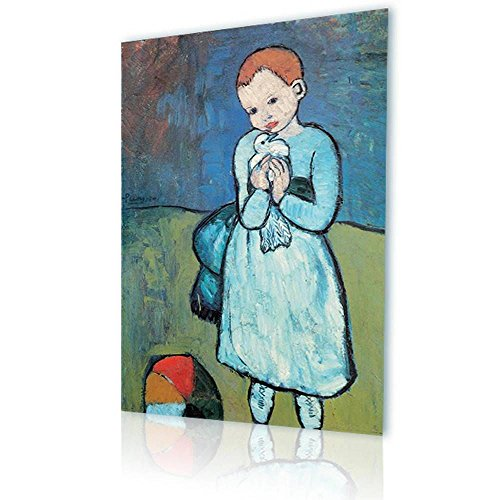 Alonline Art - Child With Dove Pablo Picasso PRINT On CANVAS (100% Cotton, UNFRAMED Unmounted) 24