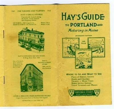 Hayu0027 S Guide Portland U0026 Motoring In Maine Hayu0027s Drug Store 1946 Maps  Information