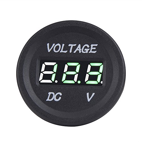 Auto Power Plus Digital Display Voltage Meter Gauges DC 12V-24V Green Mini Led Voltmeter Panel For Car Motorcycle Jeep Trucks