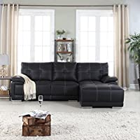Classic Tufted Faux Leather Sectional Living Room Sofa (Black)