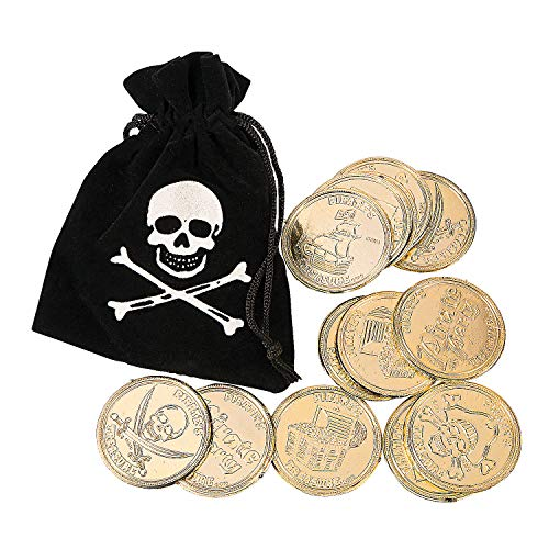 Fun Express - Pirate Drawstring Bags W/Gold Coins - Toys - Value Toys - Play Money - 12 Pieces (Pirate Coin Purse)
