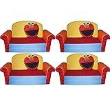 Marshmallow Furniture, Children's 2 in 1 Flip Open Foam Sofa, Sesame Street's Elmo/Sesame, by Spin Master, 4-Pack
