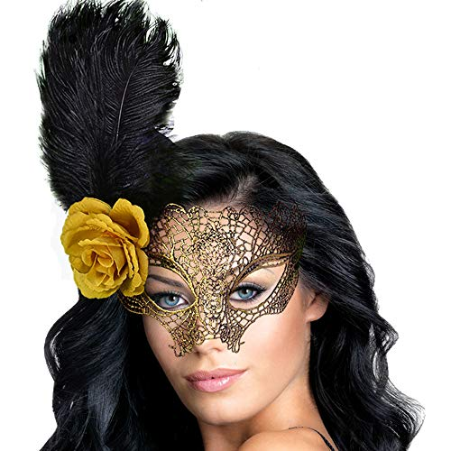 Venetian Masquerade Mask for Women's Sexy Fancy Lace Mask(Gold) -