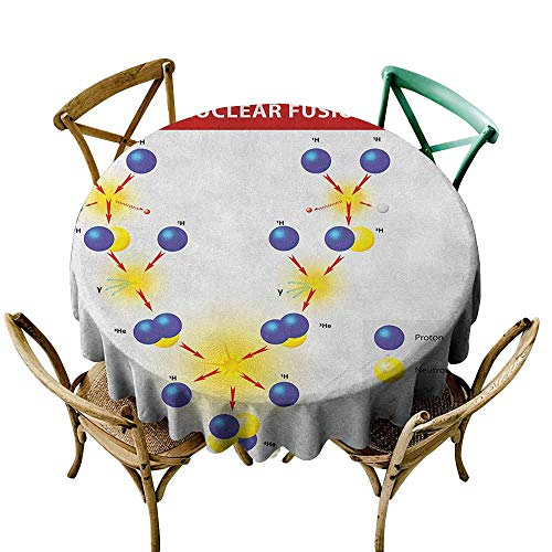 Sunnyhome Custom Tablecloth Educational Nuclear Fusion Proton Neutron Chain Hydrogen Cosmic Energy Molecule Atom Blue Red Yellow for Events Party Restaurant Dining Table Cover 43 INCH -