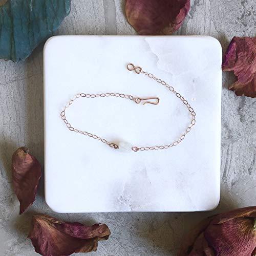 Raw Bracelet - Moonstone Rose Gold Filled (Medium)