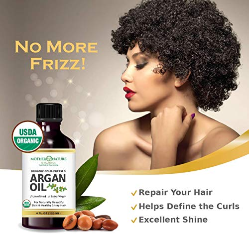 USDA Certified Organic Moroccan Argan Oil, Virgin, Unfiltered, 100% Pure, Cold Pressed. Natural Anti-Aging Moisturizer for Face, Hair, Skin & Nails (4oz)
