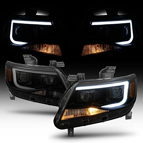 2019 Projector Headlights - ACANII - For Blk Smoke 2015-2019 Chevy Colorado LED Tube DRL Dual Square Projector Headlights Driver + Passenger Side