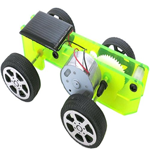 Solar Powered Toy, YJM DIY Assemble Toy Set Solar Powered Car Kit Science Educational Kit for Kids Students Green (Solar Super Car Race)