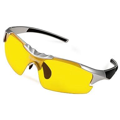 Duduma Gafas de Sol Deportivas Polarizadas Lente Amarilla Visión Nocturna Para Esquiar Golf Correr Ciclismo TR46 Súper Liviana Para Hombre y Mujer ...