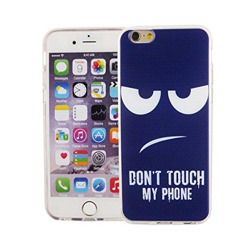 König-Shop Handy Hülle für Apple iPhone 6 / 6s Cover Case Schutz Tasche Motiv Slim Bumper TPU + 9H Panzerglas Motiv Don't touch my Phone