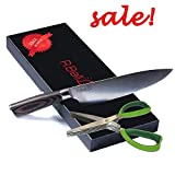 Professional Chef Knife - 8 inch Kitchen Knife High Carbon Steel, Sharp Edge multipurpose knife for Sushi, Meat and Vegetables, W/Pakkawood Ergonomics Handle, W/FREE BONUS Herb Scissors and GIFT BOX.