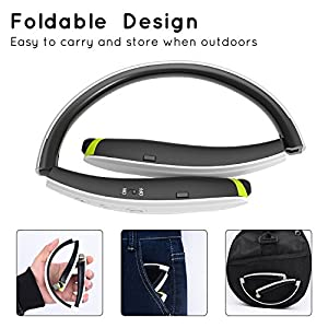 [Newest Design] Foldable Bluetooth Headset,Pkman™ Upgrade Wireless Neckband Bluetooth Headphones with Retractable Earbud, Foldable Design,Sports Stereo In-ear Earbuds for iPhone and Android