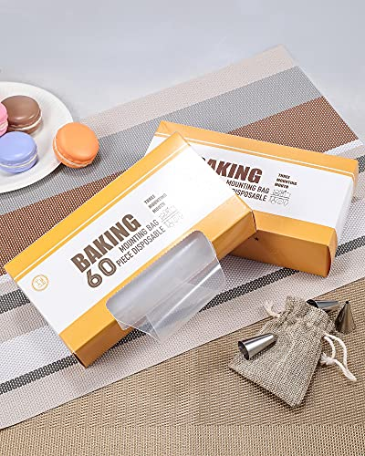 AYOTEE Disposable Anti-Burst Piping Bags and Piping Tips,60 PCS 12 inch icing bags and 8 PCS Icing Tips,Cupcake Piping bags and Tips,Cupcake Piping Set for Baking Cupcake, Cookies and Cake Decorating
