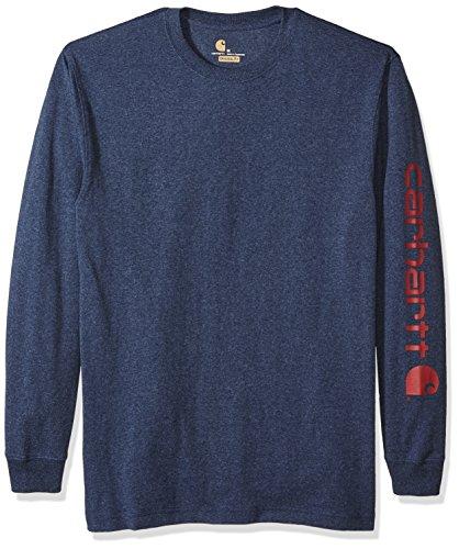 Carhartt Men's Signature Logo Long Sleeve T-Shirt, Dark Cobalt Blue/Red, X-Large (Carhartt Clothes)