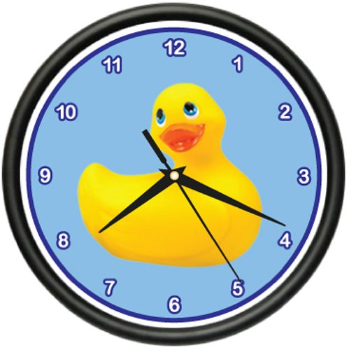 Rubber Duckie Wall Clock Duck Bathroom tub Kids Room
