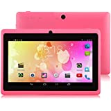 "IRULU X1a 7"" Tablet - A33 Cortex-A7 1.5GHZ Quad Core System, Android 4.4 OS, 1024*600 Resolution with 5 Point Capacitive Touch, Dual Camera(Front 0.3MP/ Rear 2.0MP),512MB-RAM/8GB-ROM (Pink)"