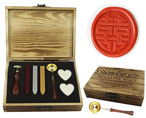 MNYR Chinese Character Double Happiness Wax Seal Stamp Wedding Invitation Gift Wrap Wine Package Wooden Handle Melting Spoon Sealing Wax Wooden Gift Box Wax Seal Stamp Set Double Happiness Wedding Invitations