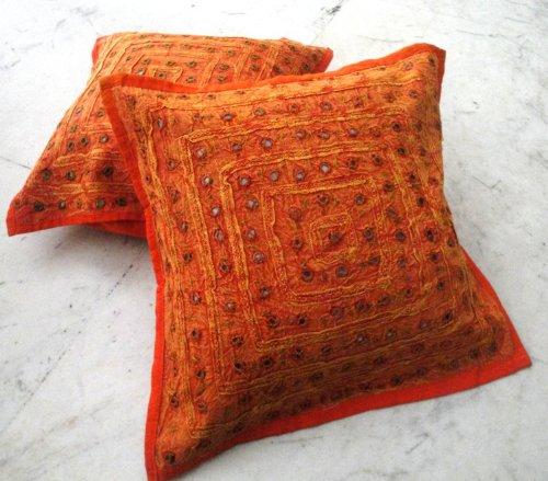 (2 Orange Mirror Work Embroidery Indian Sari Throw Pillow Toss Cushion Covers)
